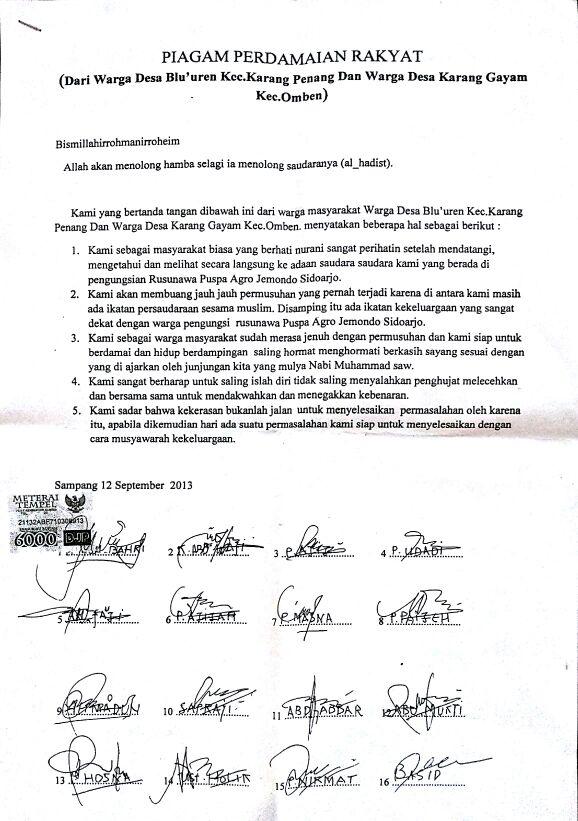 Foto Dokumen Piagam Perdamaian Syiah Sampang