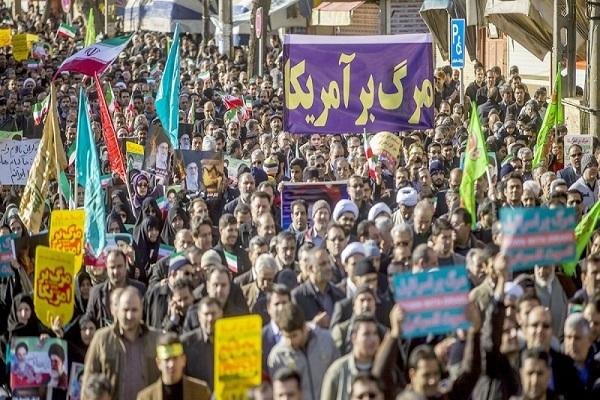 Unjuk rasa warga RII mengecam perusuh.