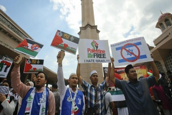 Warga Malaysia Berunjuk Rasa Kecam AS dan Israel