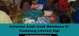 Antusiasme Anak-Anak Membaca Buku di Kampung Literasi Sigi